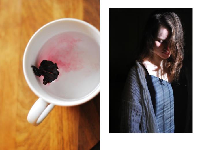 herbata, hibiskus, herbata przy pracy, szycie, bluzka, blog, joulenka