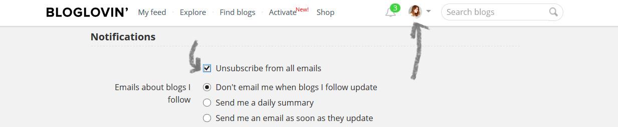 bloglovin unsubscribe
