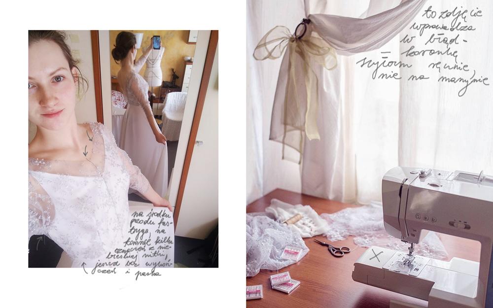 suknia ślubna, szycie sukni ślubnej, joulenka, muślin, koronka, tkaniny ślubne