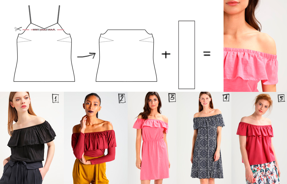14219c2cbf4036 Czarna bluzka, 2. czerwona bluzka z rękawem*, 3. różowa sukienka,4. sukienka  we wzorki, 5. czerwony t-shirt.